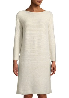 Lafayette 148 Cashmere-Silk Ribbed-Panel Shimmer Tunic