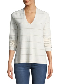 Lafayette 148 Cashmere V-Neck Shimmer-Striped Sweater