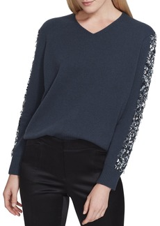 Lafayette 148 Cashmere V-Neck Sweater with Sequins