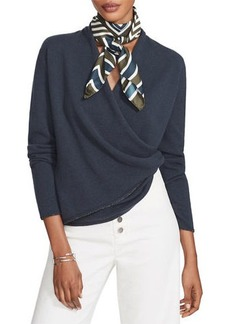 Lafayette 148 Cashmere Wrap Front Sweater with Metallic