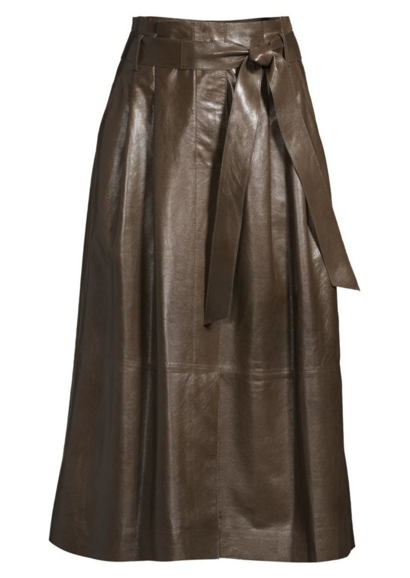 Lafayette 148 Cass A-Line Leather Skirt