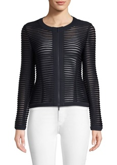 Lafayette 148 Catrice Sheer Striped Jacket