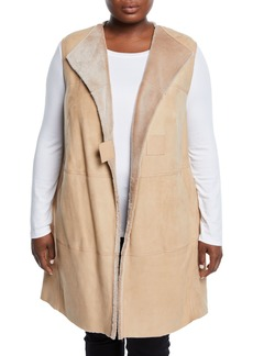 Lafayette 148 Celeste Long Leather-Trimmed Shearling Fur Vest  Beige