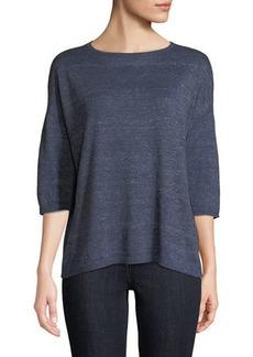 Lafayette 148 Chain-Striped Linen Sweater
