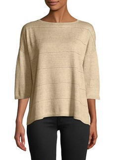 Lafayette 148 Chain-Striped Linen Sweater