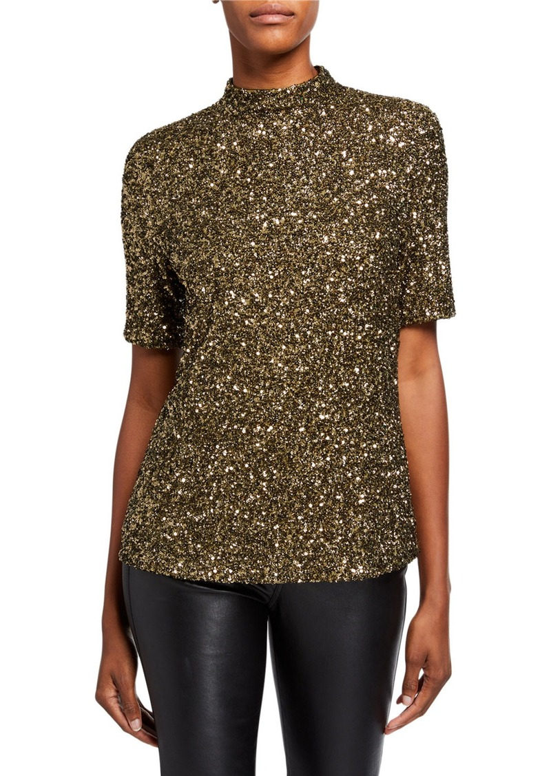 Lafayette 148 Charis Shimmering Sequins Mock-Neck Blouse