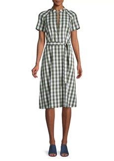Lafayette 148 Checked-Print Cotton Blend Knee-Length Dress