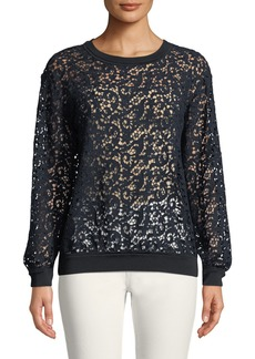 Lafayette 148 Cirilla Long-Sleeve Floral Lace Blouse