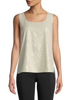 Lafayette 148 Cleo Sleeveless Sequined Blouse