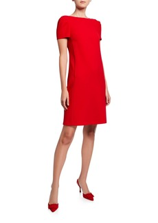 Lafayette 148 Cohen Short-Sleeve Finesse Crepe Shift Dress