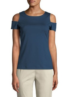 Lafayette 148 Cold-Shoulder Short-Sleeve Top