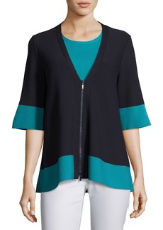 Colorblock Matte Crepe Zip Top