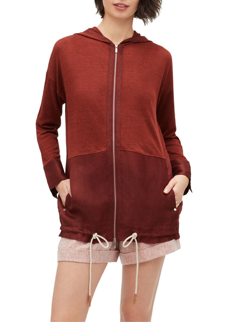 Lafayette 148 Colorblock Zip-Front Hooded Sweater Jacket