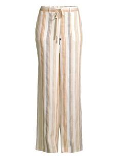 Lafayette 148 Columbus Linen Stripe Wide Leg Pants