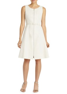 Lafayette 148 Coralie Zip-Front Belted Dress