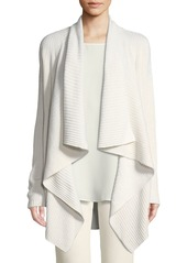 Lafayette 148 Cozy Flannel Sequin Open-Front Waterfall Cardigan