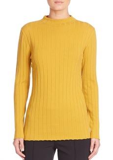 Lafayette 148 Cozy Wool Flannel Rib-Knit Turtleneck Sweater