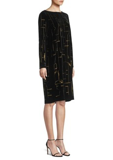Lafayette 148 Cressida Embroidered Velvet Shift Dress