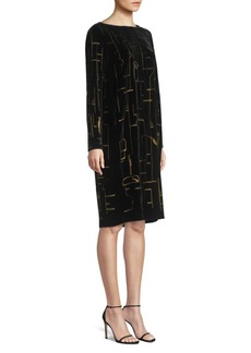 Lafayette 148 Cressida Velour Shift Dress
