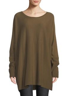 Lafayette 148 Crewneck Dolman-Sleeve Oversized Cashmere Pullover Sweater