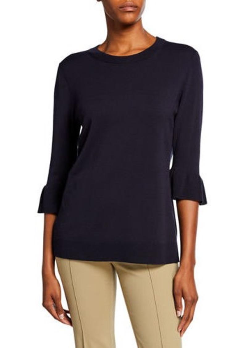 Lafayette 148 Crewneck Flounce-Sleeve Sweater