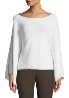 Lafayette 148 Cropped Draped-Sleeve Kimono Sweater