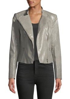 Lafayette 148 Cropped Faux-Leather Moto Jacket