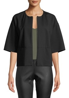 Lafayette 148 Cropped Half-Sleeve Zip-Front Jacket