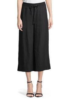 Cropped Wide-Leg Linen Pants