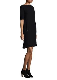 Lafayette 148 Cyra Lace-Inset Nouveau Crepe Dress