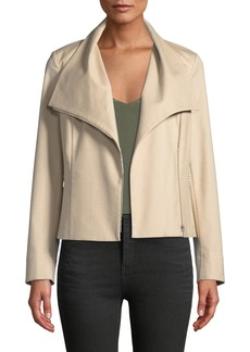 Lafayette 148 Cyrilla Perforated-Sleeve Cotton Moto Jacket
