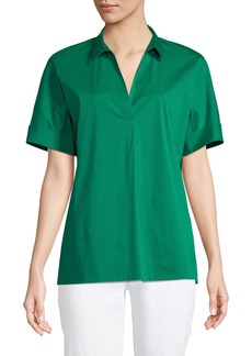 Lafayette 148 Damon Short-Sleeve Stretch-Cotton Blouse
