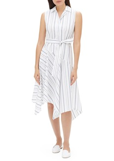Lafayette 148 Dandy Solstice Stripe Sleeveless Self-Tie Shirt Dress