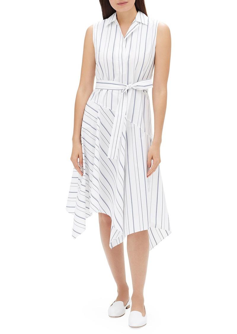 Lafayette 148 Dandy Solstice Stripe Sleeveless Self-Tie Shirt Dress