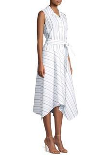 Lafayette 148 Dandy Striped Sleeveless Shirt Dress