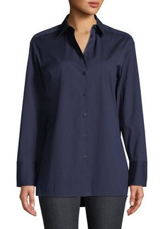 Lafayette 148 Dannell Button-Front Stretch-Cotton Blouse