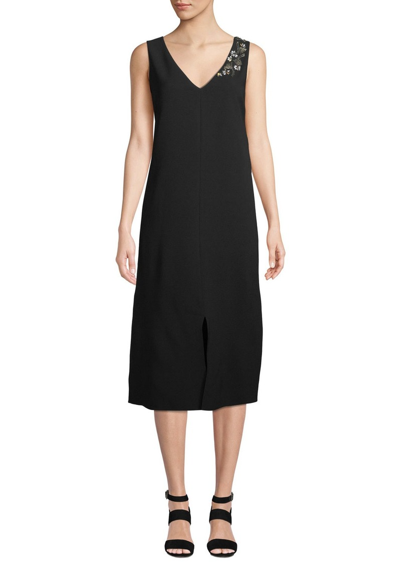 Lafayette 148 Dante Finesse Crepe Dress with Embellished Detail