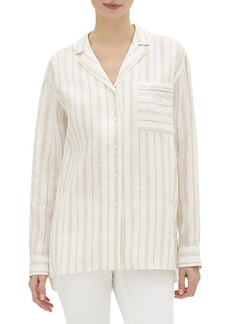 Lafayette 148 Darbin Savena-Stripe Button-Front Linen Blouse