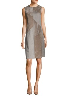 Lafayette 148 Daren Suede & Calf Hair Shift Dress
