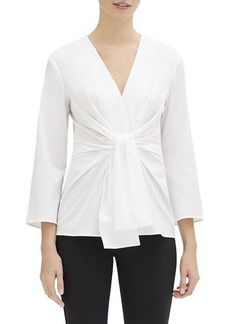 Lafayette 148 Dayana V-Neck 3/4-Sleeve Italian Stretch-Cotton Blouse