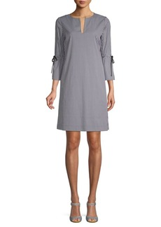 Lafayette 148 Deandra Gingham Split-Neck Dress