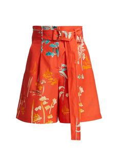 Lafayette 148 Degraw Floral-Print High-Waist Shorts