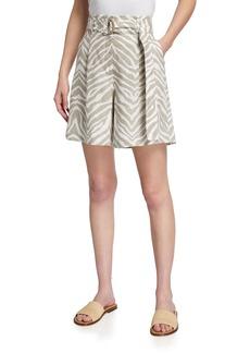 Lafayette 148 Degraw Zebra-Stripe Belted Linen Shorts
