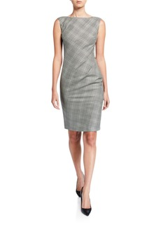 Lafayette 148 Della Houndstooth Plaid Sleeveless Sheath Dress