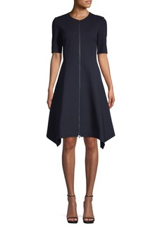 Lafayette 148 Demille Zip-Front Fit-&-Flare Dress
