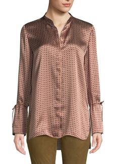 Lafayette 148 Desra Printed Silk Button-Down Blouse