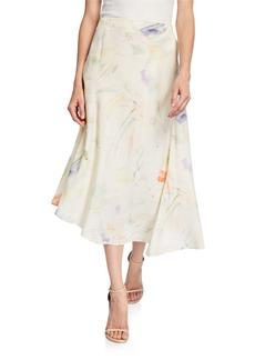 Lafayette 148 Dessie Silk Floral-Print Skirt