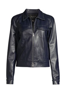 Lafayette 148 Destiny Leather Moto Jacket