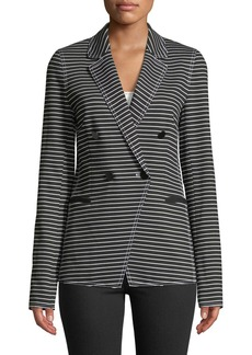 Lafayette 148 Devin Double-Breasted Striped Twill Jacket