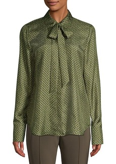 Lafayette 148 Diana Abstract Silk Tieneck Blouse